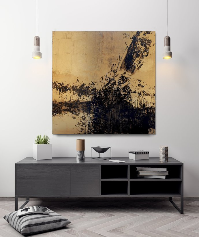 Abstract Acrylic Painting, Black Gold Leaf Painting, Large acrylic painting,