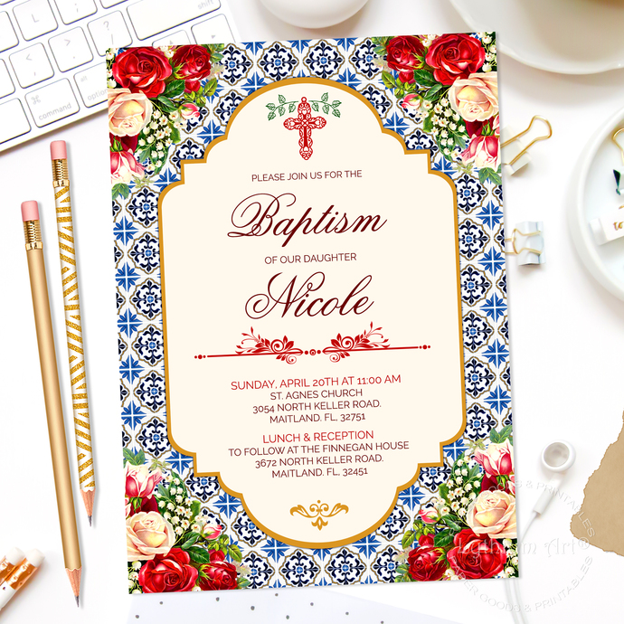 Baptism Invite + Back Design, Printable File, First Holy Communion Invitation,