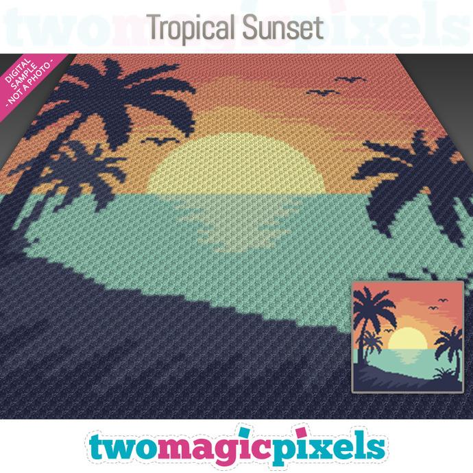 Tropical Sunset crochet graph (C2C, Mini C2C, SC, HDC, DC, TSS), cross stitch;