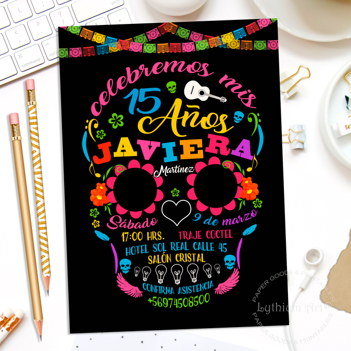 Mexican Quinceanera Invitation + Thank You Card, Printable File
