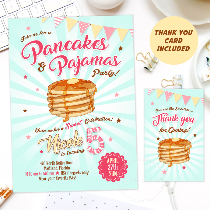 Pancakes and Pajamas Invitation, PRINTABLE Invitation + Thank You Card