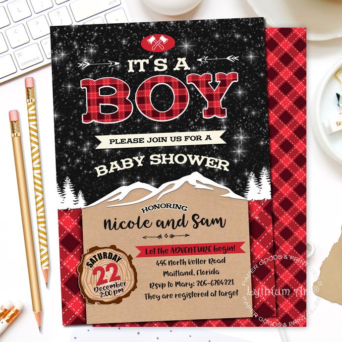 Lumberjack Backdrop, Lumberjack Baby Shower Backdrop, Baby Shower Banner,