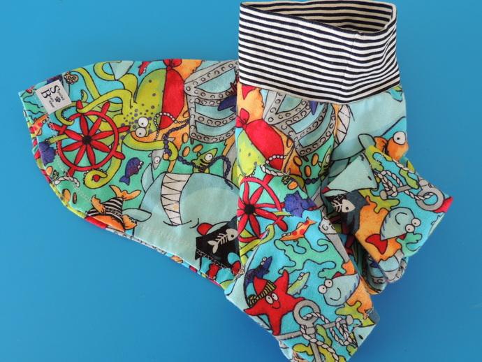 XL Pirate Shark Cotton Flannel Dog Shirt