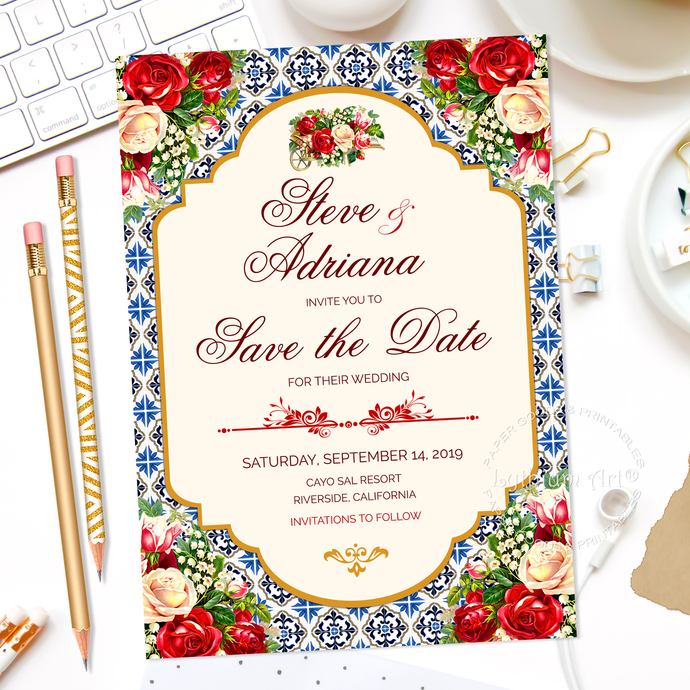 Mexican Wedding Save The Date Printable Card + Personalized Back Design,