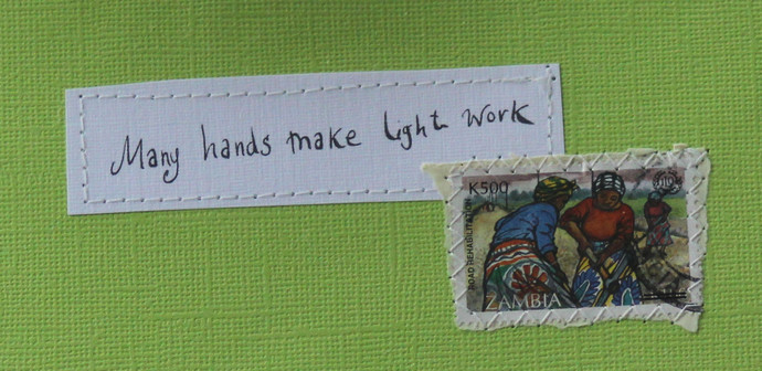 Many hands make light work Apple green card with handwritten quote and Zambian