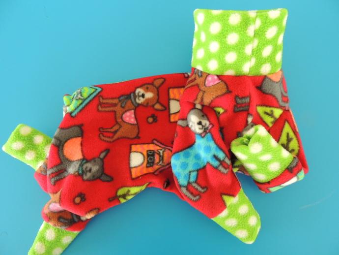 MEDIUM Doggie's 'n Dots Warm Fleece Dog PJs