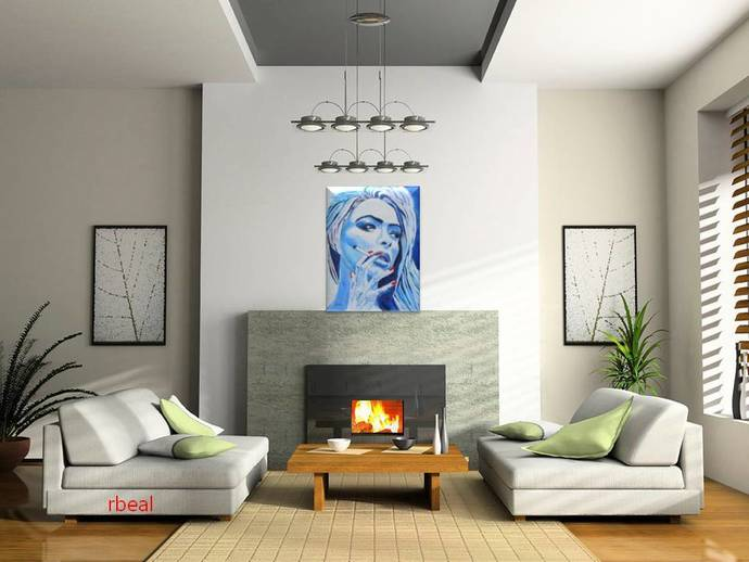 Pop Art Blue woman smoking Original Oil Painting wall art Rebecca Beal