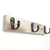 Rustic White Triple Wall Hook for Bath, Kitchen or Bedroom, with Black Hooks