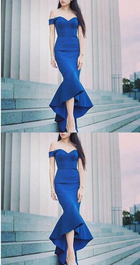 Royal Blue Off Shoulder Mermaid Prom Dress, Sexy Formal Evening Dress, Women