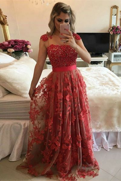 elegant red long prom dresses with pearls, modest cap sleeves evening gowns,