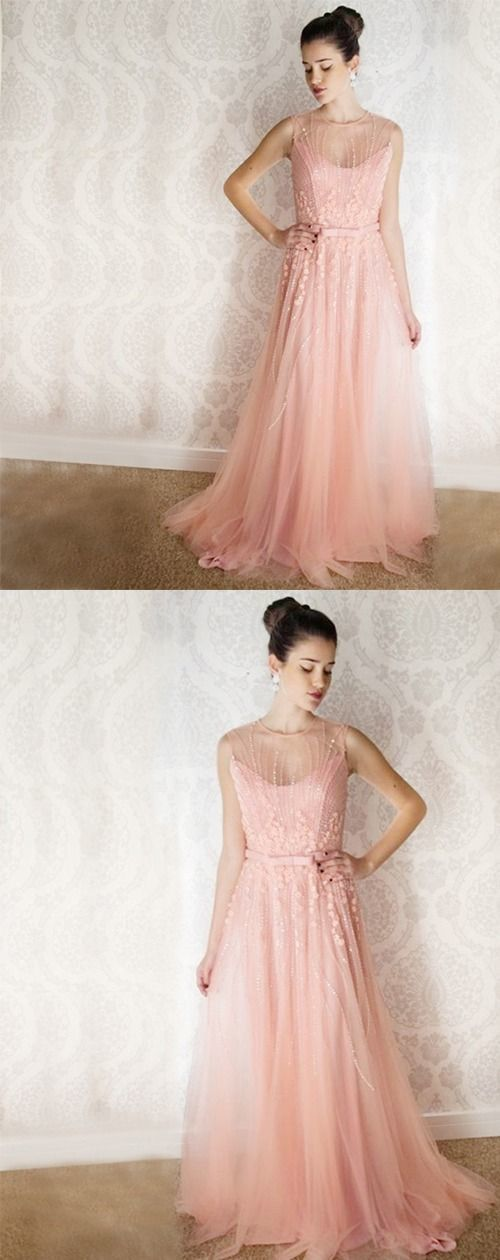 A-Line Round Neck Pink Tulle Prom Dress with Beading Appliques