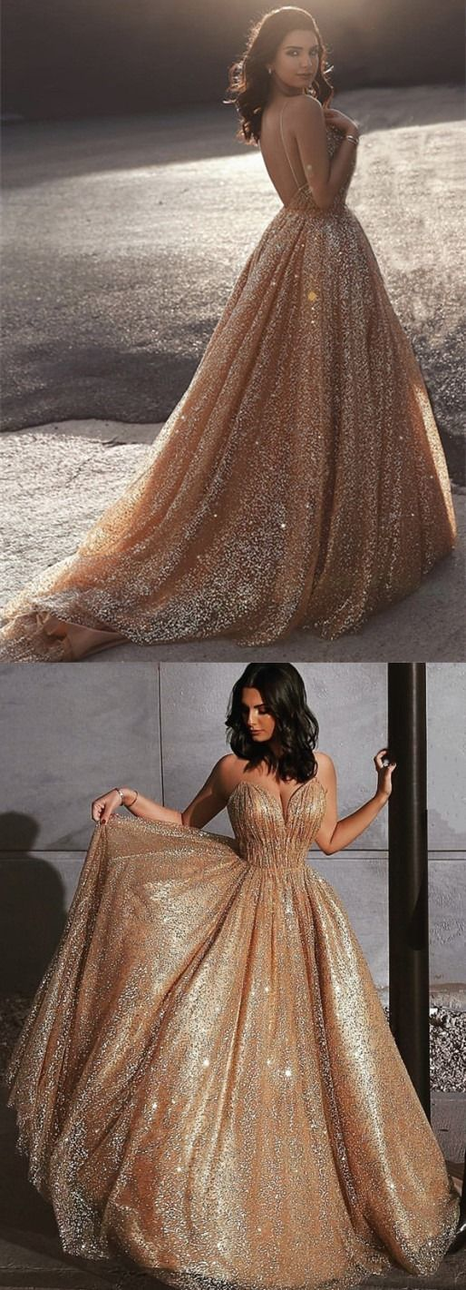 Gold Sequins Prom Dresses Long Backless Evening Gowns