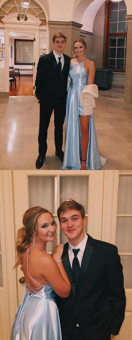 Simple Halter Blue Prom Dress with Split Satin Long Sleeveless Party Dress