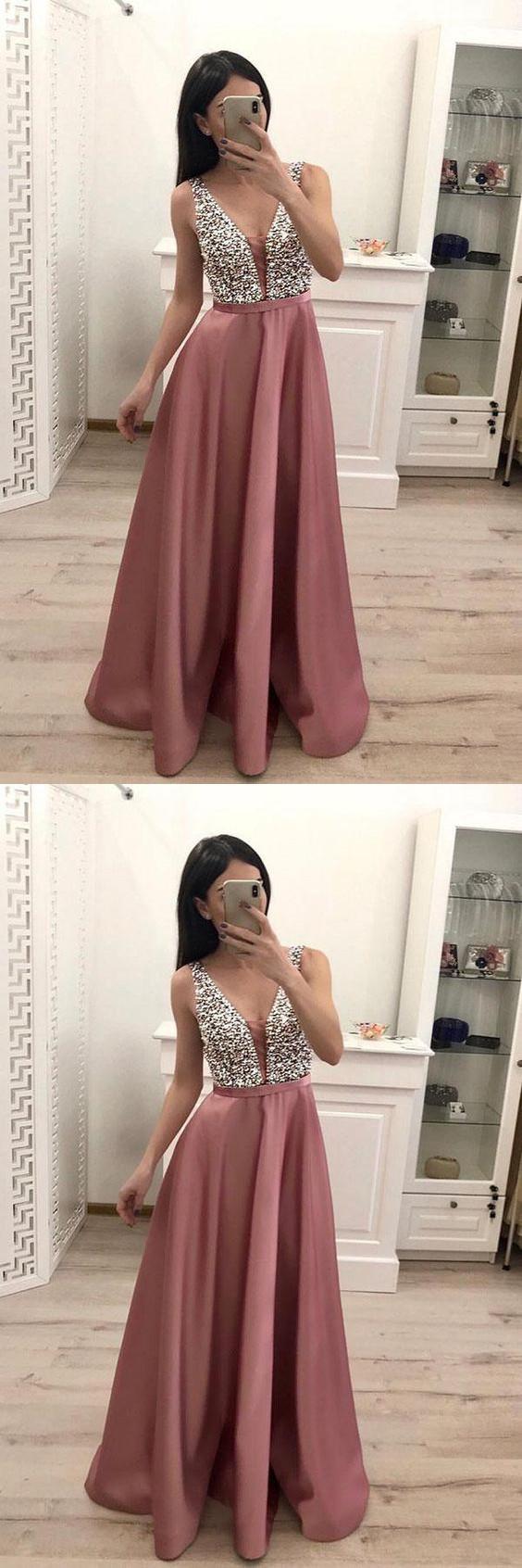 Stunning V Neck Sleeveless Satin with Beading Floor Length Prom Dresses