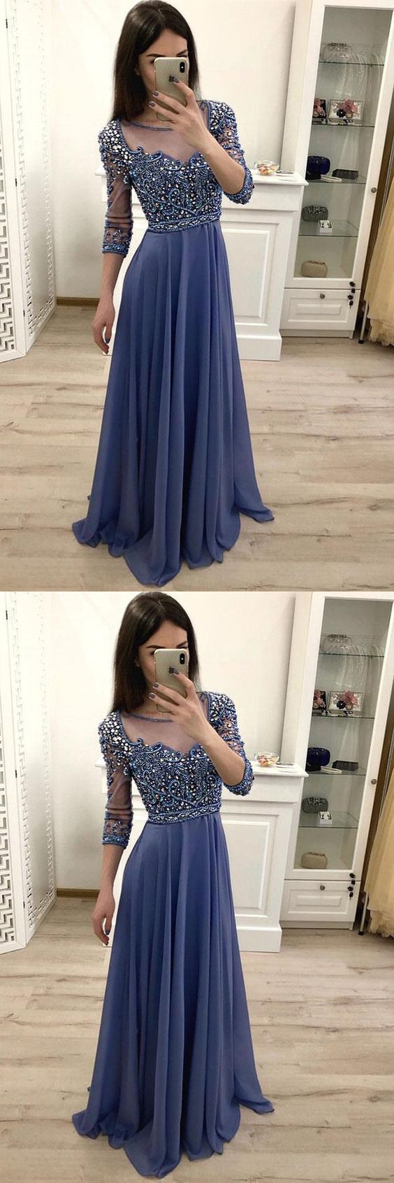 Elegant Round Neck Chiffon 3/4 Sleeves Prom Dresses with Beading