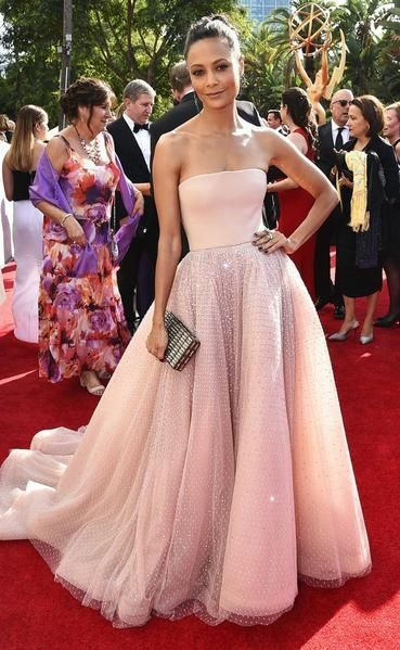 Strapless Long Tulle Nude Prom Evening Dress, Celebrity Dress,Formal Evening