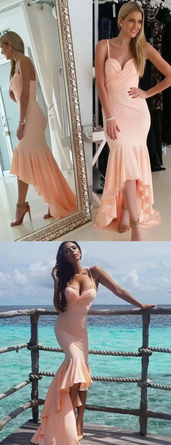 Prom Dresses Nude Sweetheart Gorgeous Mermaid Hi-Lo Spaghetti-Straps Prom