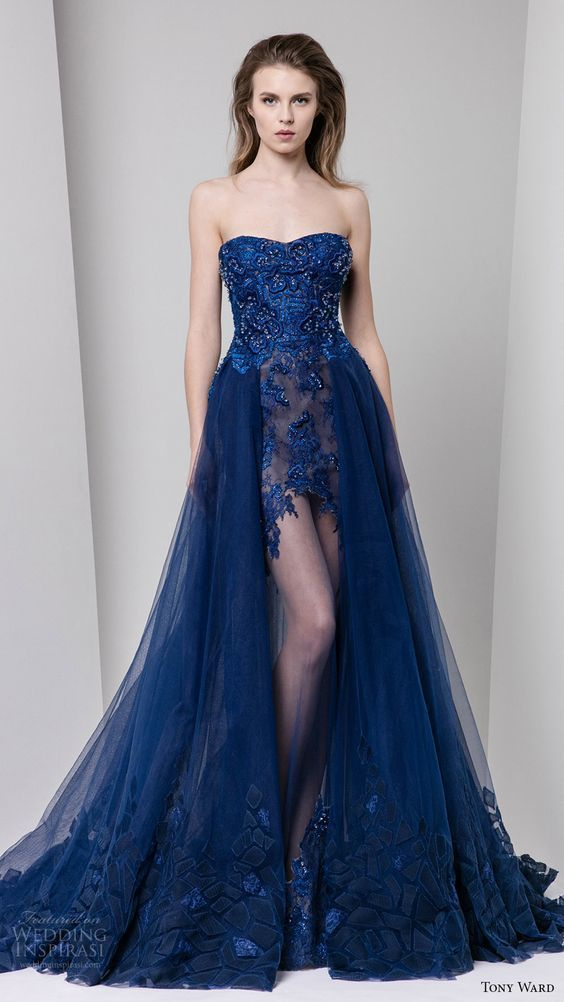 Navy Blue Prom Dresses New Style Beaded Bodice Sweetheart Neckline Lace Tulle