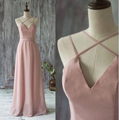 Charming Pink Prom Dress,Long Prom Dresses,Sexy Backless Prom Dresses,Chiffon