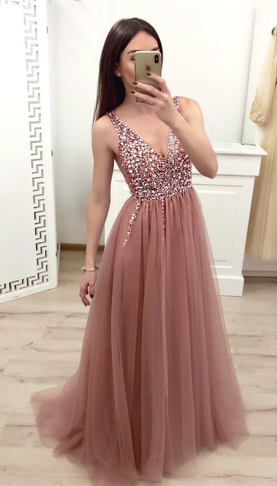 DUSTY ROSE TULLE BEADED LONG PROM DRESS WITH LACE UP BACK