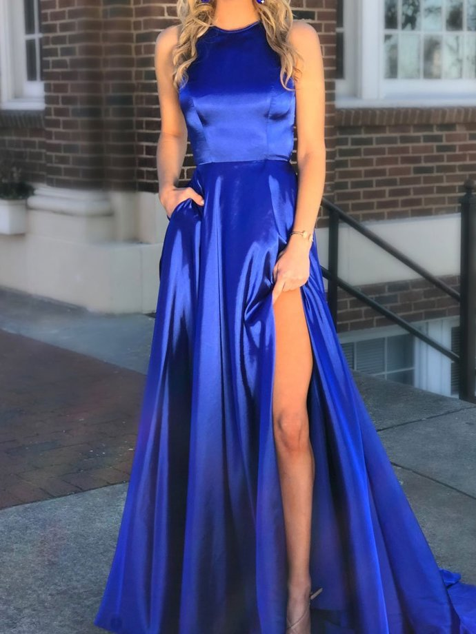 Long Quinceanera Dress with Pocket ,Thigh Slit evening gowns,sexy ball gowns,