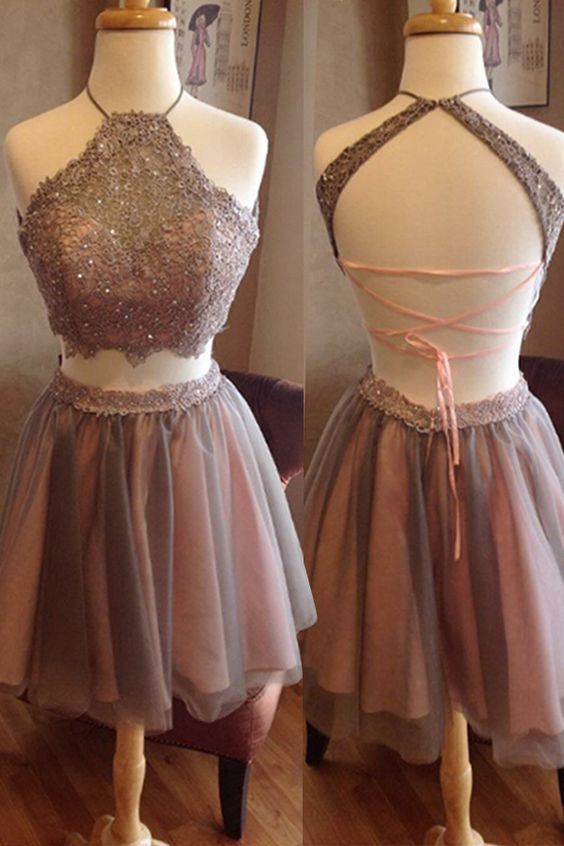 Two Pieces Lace Homecoming Dresses, Halter Homecoming Dresses, Sexy Homecoming