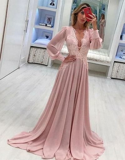 V Neck Formal Occasion Dress, long sleeves evening gowns,sweep train pom