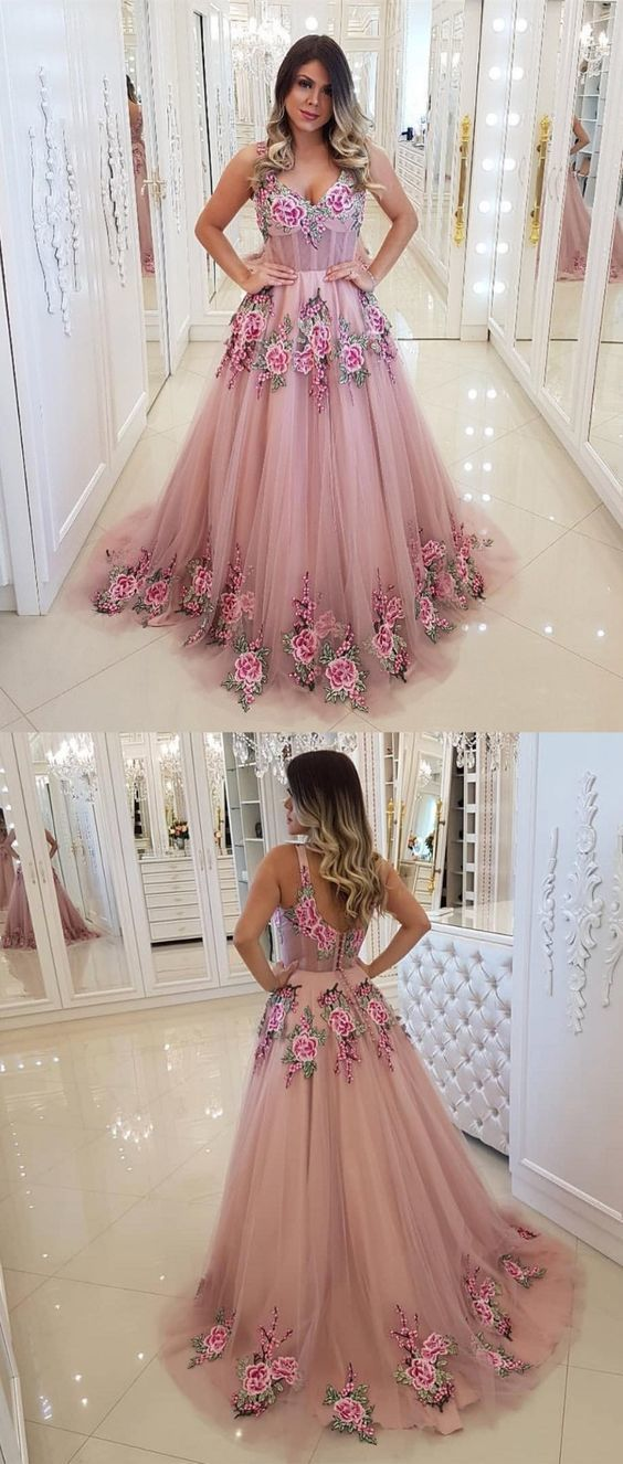 Chic V-neck Sleeveless Sweep Train Blush Prom Evening Dresses with Appliques