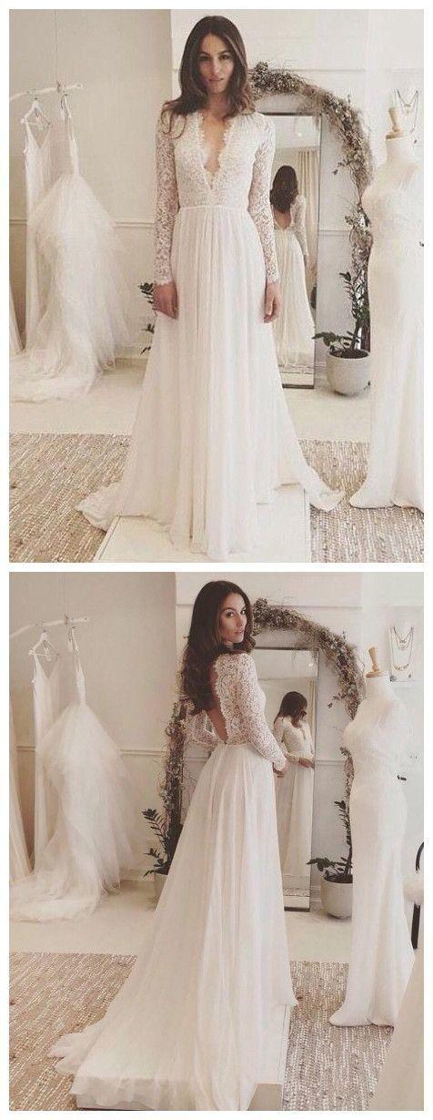 A Line Princess Evening Dresses, Long Sleeves Dress,Deep V Neck Prom Dresses ,