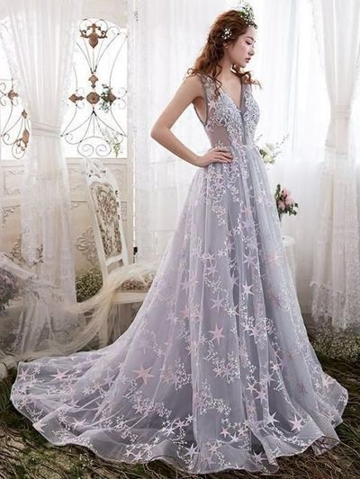 A Line formal gowns,Princess Evening Dresses, Sleeveless Spaghetti Straps