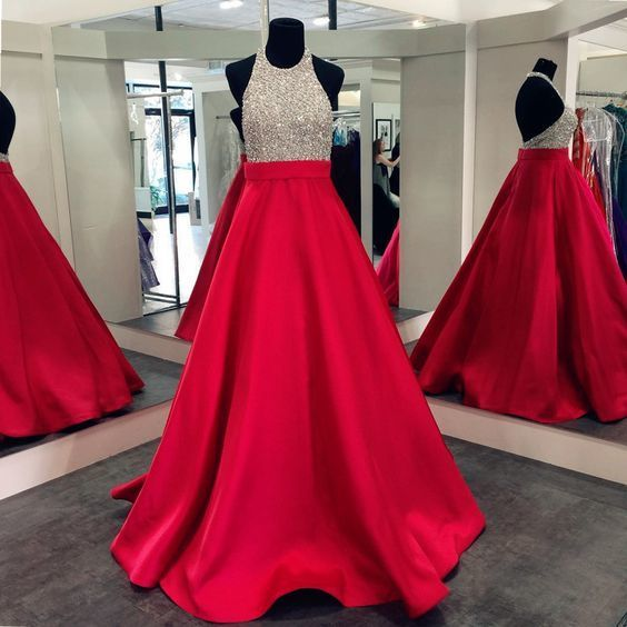 Long Satin Prom Dress with Golden Sparkly Bodice Prom Dresses,floor length