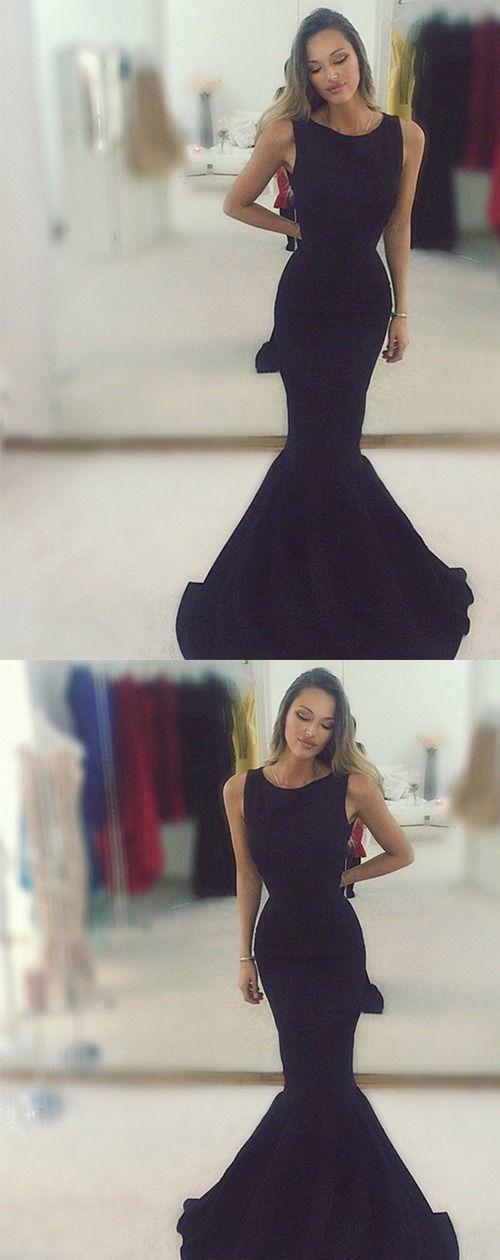 Mermaid Round Neck Floor-Length Black Stretch Satin Prom Dress