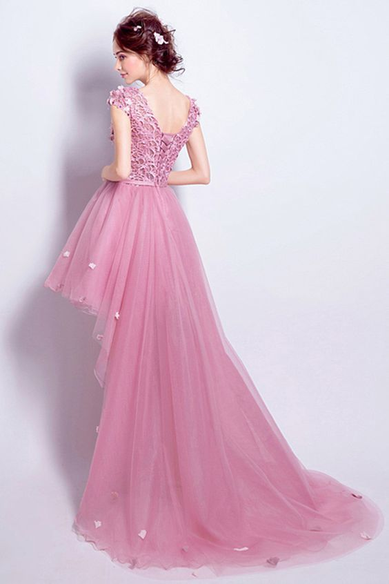 Pink A-line Scoop Neck evening gowns,sexy ball gowns, custom made prom,new