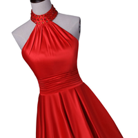 red ball gown, formal evening dress,halter ball gown , floor length evening