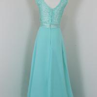 Custom Made V-Neckline Crystal Embellished Pleated Chiffon Formal Dress, Evening