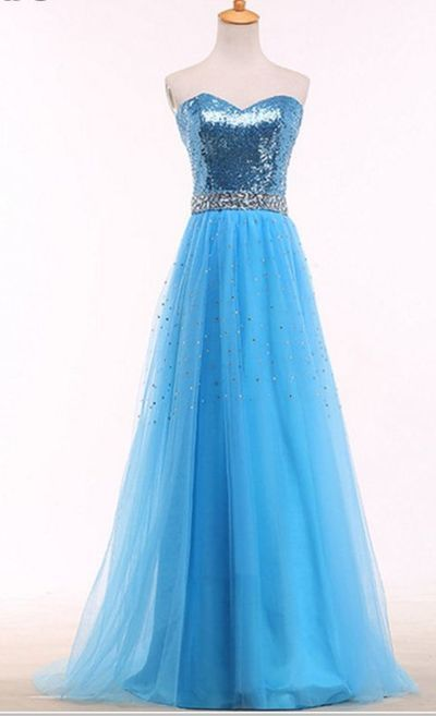 bright blue ball gown,floor length formal gown , crystal sex evening