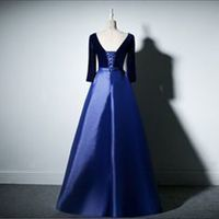 Royal blue satin evening gowns,sexy ball gowns, custom made prom,new fashion,V