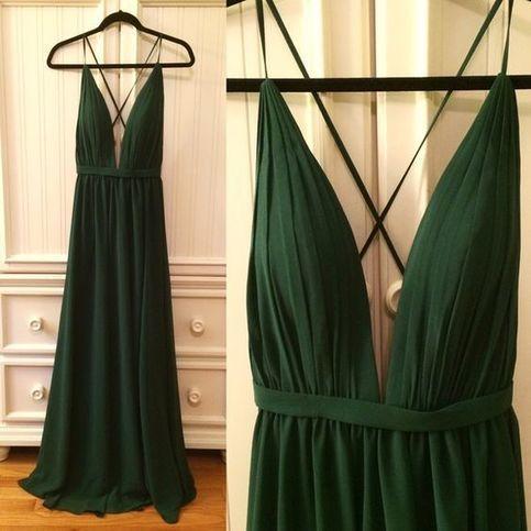 Elegant Spaghetti Straps  ,Green  prom dress