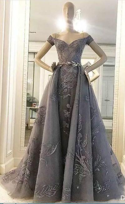 Sequinned Embellished Off-The-Shoulder Plunge V Floor Length Formal Dress