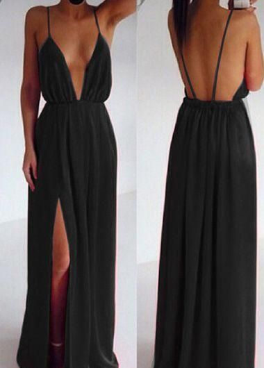 Deep V Neck, Maxi Dress, open back prom dresses, black evening dresses