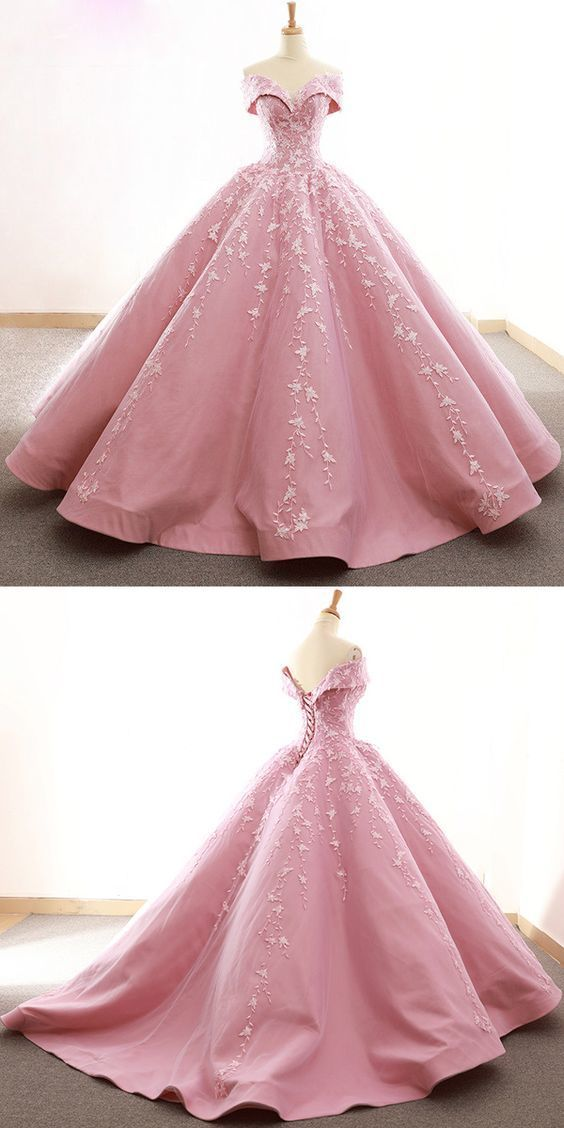 Gorgeous Tulle & Satin Off-the-shoulder Neckline Ball Gown Wedding Dresses With