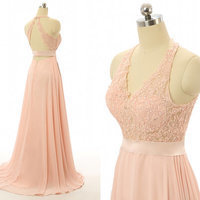 Peach Evening Prom dresses, Lace Long Prom dresses, backless bridesmaid dresses,