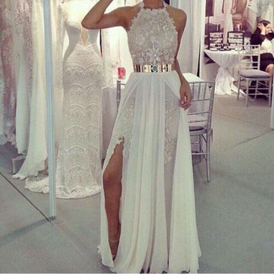 long evening gowns,sexy ball gowns, custom made ,Halter Prom Dress,Lace Prom