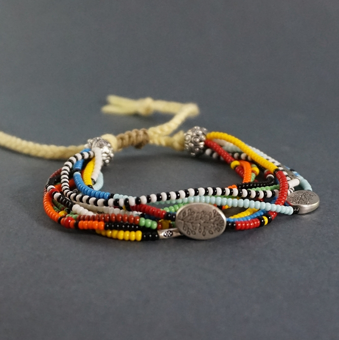 Colorful Woven Friendship Bracelet Of Seed Beads, Cotton Braided Dainty Tree