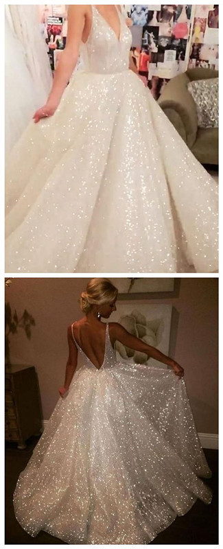 Deep V Neck White Sparkly Prom Dress,Sexy Vintage Shiny Evening Gowns,Low Back