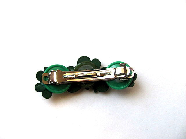 Clover Button Barrette FREE US Shipping