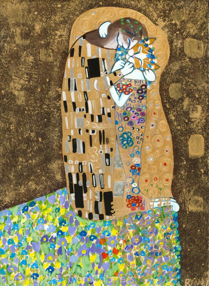 The Cat Kiss Klimt Recreation Original Cat Folk Art Painting