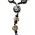 Kenyan Kazuri Black and Gold Beaded Lariat Style Necklace with hand painted