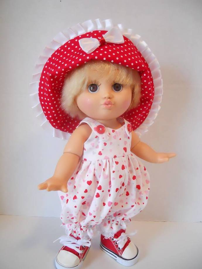 Valentine Kisses Romper Bucket Hat Set 13 Inch Galoob Baby Face Doll Clothes