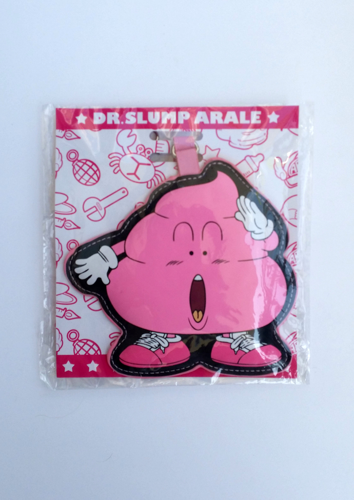 Dr. Slump Arale Pink Poo Puffy Luggage Tag ID Case w/ Neck Strap - Brand New